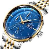 Relojes mecánicos automáticos de marca de lujo para hombre, relojes de acero inoxidable para hombre, relojes para senores, reloj masculino, 2018 azul