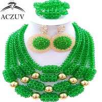 Aczuv último boda Africana verde Cuentas collar y Pendientes pulsera nigeriano conjunto de joyas para las mujeres d4r023