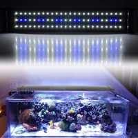 Acuario LED iluminación pecera SMD LED lámpara de luz 11W extensible 50 CM-68 CM 60 blanco 12 Chips azules 220V UE enchufe fuente de alimentación