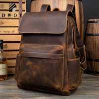 Crazy Horse cuir sac à dos hommes vintage femmes sac à dos ordinateur portable en cuir véritable sacs à dos cartable pour mochila hombre feminina