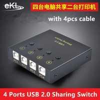 EKL 2 puertos 4 puertos USB 2,0 interruptor de intercambio caja adaptador para PC escáner impresora interruptor manual software de ordenador interruptor