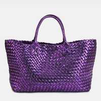 Cartera de regalo de marca de calidad de cuero de mujer bolso de mensajero bolso Vintage de gran capacidad hecho a mano tejido Totes