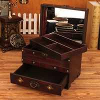 Vendimia gran joyero de madera con cerradura del tocador escritorio caja acabado caja de almacenamiento princesa caja de almacenamiento de madera