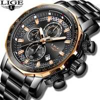 Nouveau 2019 LIGE montres homme Top Marque De Luxe Sport Quartz Tout Acier Mâle Horloge Militaire Étanche Chronographe Relogio Masculino