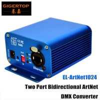 Convertidor DMX de Ethernet bidireccional Gigertop EL ArtNet1024 controlador 3pin/5pin Salida de enchufe Lan Earthnet/DMX Artnet la consola