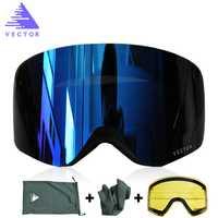 VECTEUR Marque Ski Lunettes Double Lentille UV400 Anti-brouillard Femmes Hommes Snowboard Ski Lunettes de Neige Lunettes Avec Lentille Supplémentaire