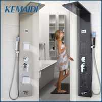 KEMAIDI baño moderno de acero inoxidable columna de ducha montado en la pared un mango + ducha de mano + boquilla de bañera + Panel de ducha del sistema de masaje