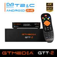 IPTV GTT-2 Android 6,0 caja de Smart TV + TV vía satélite DVB-T2/C/Set Top BOX 4 K 3D H.265 2,4 GHz Wifi media player receptor de TV jugar stor
