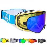 Gafas de esquí 2 en 1 con magnético de uso Dual lente polarizado Anti-niebla UV400 Snowboard hombres esquí gafas las mujeres de esquí gafas