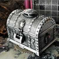 Estilo egipcio Cofre del Tesoro con bloqueo 2 capas vintage joyería caja de estuche de baratijas de cosméticos de embalaje de caja de almacenamiento Z058