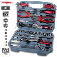 Hi-Spec 67pc ensemble d'outils à main métrique voiture réparation automobile mécanique automobile Kit d'outils maison Garage clé à douille outils dans la boîte à outils