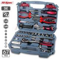 Juego de herramientas de mano de 67pc de alta especificación, juego de herramientas de mecánica de coche para reparación de automóviles, llave de enchufe de garaje para el hogar herramientas en caja de herramientas