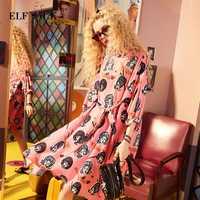 ELF saco ropa de mujeres de verano Vestido de manga de soplo mujer personaje Graffiti vestidos de impresión O cuello asimetría Chic de una pieza