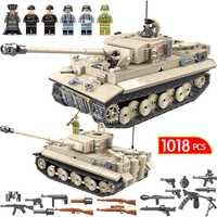 1018 pièces Militaire Réservoir WW2 blocs de construction Compatible Avec Légèreté Ville Jedi Réservoir tigre 131 Briques Combattant Armes Jouets Pour garçons