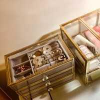 Maquillaje organizador caja de almacenamiento de caja de almacenamiento mano diaria de la joyería caja de almacenamiento de vidrio Simple con franela pendientes