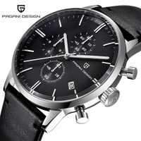 Relojes para hombre marca superior de lujo a prueba de agua 30M cuero genuino japonés Seiko VK67 movimiento relojes de cuarzo hombres reloj Masculino