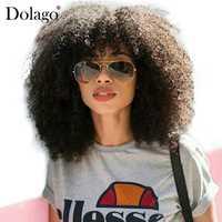 250% de densidad Afro rizado del pelo humano del frente del cordón pelucas con flequillo Bob peluca Frontal de encaje para las mujeres Remy corto pelo Dolago negro