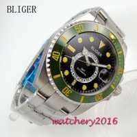 43mm Bliger dial negro verde bisel de cerámica luminosa marcadores GMT de cristal de zafiro Mingzhu movimiento automático de los hombres