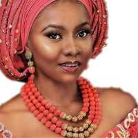 Nigeria Original traje redondo Coral perlas joyería conjunto chapado en oro 3 capas joyería de la boda india establece para las mujeres Dubai 2018