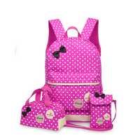 Princesa mochila alumnos bolsa de tres 3-4-5 grado femenino niños hombros medida de tres piezas bolsa chica mochila