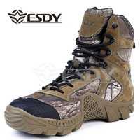 Esdy invierno hombres botas militares camuflaje Casual botas tácticas cuero combate ejército botas hombres tobillo botas de seguridad ZAPATOS DE TRABAJO