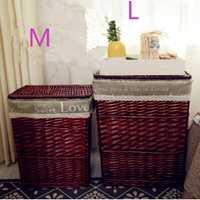 Cesta de mimbre 2018 cesta de mimbre cesta de ropa de juguete caja de almacenamiento con tapa M L disponible
