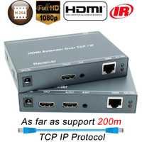 ZY-DT209 200 m HDMI IP red Extensor con IR 1080 P HDMI a través de RJ45 CAT5 CAT5e CAT6 LAN Extensor 656ft como divisor HDMI