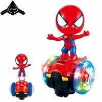 Los niños héroe Spiderman dibujos animados eléctrica Universal de coche Robot de juguete de luz led colorido Proyección de rotación de 360 grados de perro
