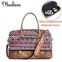 Mealivos 2017 Lona de moda grande Weekender mujeres bolsa de viaje de la noche bolsa de viaje llevar en la lona con bolsa de zapatos bolsas de lona