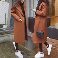 Otoño invierno abrigo mujer mezcla de lana abrigo chaqueta de cintura ancha un solo botón señoras abrigos