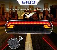 Led bike láser inteligente luces traseras láser seguridad de control remoto luces advertencia de carga USB