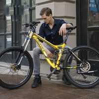 LAUXJACK de bicicleta de montaña de suspensión completa de marco de aluminio 24/27 velocidad hidráulico/mecánico de 26