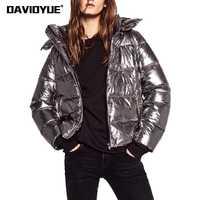 2018 chaqueta parka de Invierno para mujer abrigo de invierno con capucha de metal plateado para mujer chaqueta Parkas de calle con cremallera de manga larga para mujer