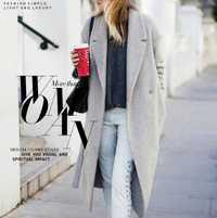 Las mujeres gris lana abrigos abrigo largo de invierno 2018 nuevo diseño Hollywood caliente x-Largo Oversize de imitación abrigos de cachemir gris claro