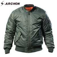 S ARCHON MA1 fuerza aérea militar chaqueta de los hombres de invierno cálido táctico piloto chaqueta de Abrigo acolchado a prueba de viento de la motocicleta chaqueta del ejército