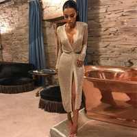 Las mujeres ahuecan hacia fuera el vestido Sexy v cuello de punto vestido femenino club desgaste Vestidos de fiesta oro rosa Vestidos 2018 primavera