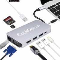 USB C rac 3,5mm jack usb3.1 tipo-c a HDMI RJ45 VGA USB3.0 TF tarjeta SD de la policía potencia de carga de adaptador de Audio para Macbook Pro 2017