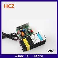 2 W láser de alta potencia 450nm láser azul cabeza módulo, CO2 grabador láser rojo 2000 mW láser cabeza del CNC TTL