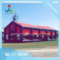 Tienda inflable cubo negro y rojo 18X6 M para exposición en venta