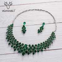 Viennois/Verde/azul/rojo Color Cubic Zirconia de lujo pendientes conjunto de collar para las mujeres joyería de la boda 2019