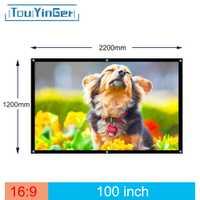 Ventas de la fábrica 100 pulgadas 16:9 proyector HD pantalla Portable proyección delantera plegable tela con ojales con marco