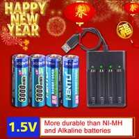 KENTLI 4 piezas AA 1,5 V 3000mWh de iones de litio batería recargable + 4 canales batería de polímero de iones de litio cargador de baterías
