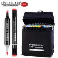 Finecolour EF102 doble 72 colores cepillo pluma pincel arte marcadores profesional para las Artes colorear boceto pintura Manga y diseño