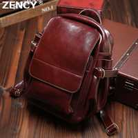 ZENCY todos los días Vintage clásico cera de aceite de piel de vaca de cuero Real de las mujeres mochilas de mujer de cuero genuino mochila bolsas de la escuela