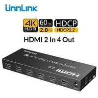 Unnlink HDMI 2,0 2 en 2/4 interruptor HDMI Splitter 2x2/4 óptica de Audio de 3,5mm HDCP2.2 4K @ 60Hz HDR para el proyector de la TV ps4 xbox
