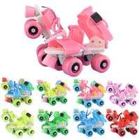 Los niños calientes patines doble fila 4 ruedas de tamaño ajustable zapatos de patinaje de Slalom patines en línea y regalos de los niños