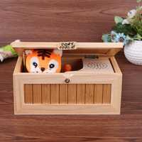 Madera caja inútil no toque juguete Tigre regalo escritorio juguete Me deja solo novela caja niños adultos divertido interactivo juguetes regalos