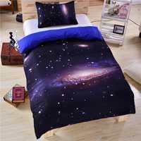 Juegos de ropa de cama 3D galaxia US Twin Full Queen King tamaño 3 piezas universo espacio exterior tema colcha cama Lino funda de almohada funda Nórdica