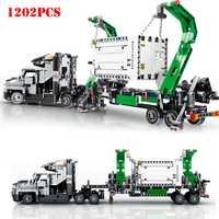 1202 piezas de ingeniería Mark contenedor camión grande vehículos bloques Compatible Legoing técnica ladrillos juguetes de los niños