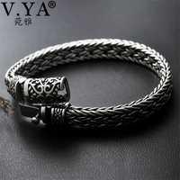 V YA bien de Plata de Ley 925 de ancho pesado pulseras para hombres diseño tejido de hombre pulsera de la joyería de plata tailandesa 21 cm 22 cm Venta caliente
